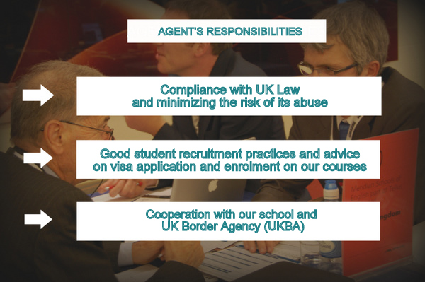 Agent's Responsibilities in Visa Application Process at Meridian School of English in Plymouth and Portsmouth